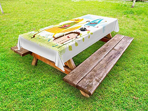 """Ambesonne Animal Outdoor Tablecloth, Fox Hedgehog Crow and Dog Skipping Rope in The Garden Best Friends Children Cartoon, Decorative Washable Picnic Table Cloth, 58"""" X 104"""", Multicolor"""