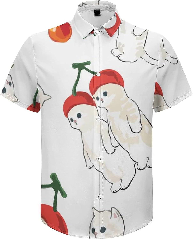 Mens Button Down Shirt Cute Cats Funny Cherry Hat Casual Summer Beach Shirts Tops