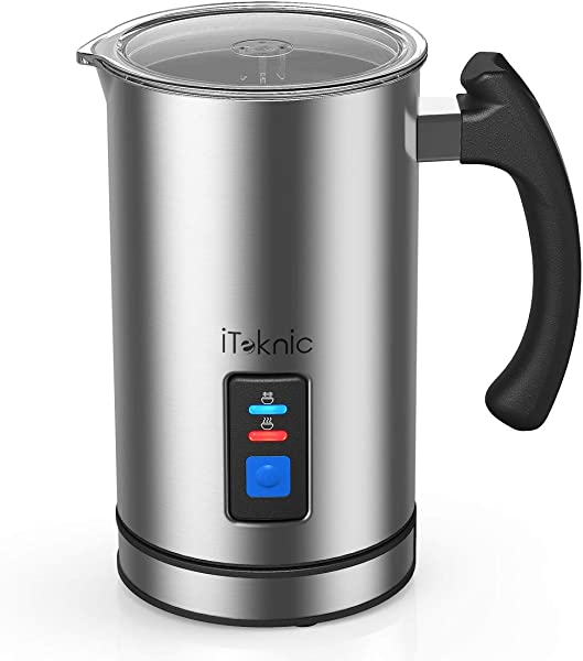 ITeknic Milk Frother Electric Milk Steamer Stainless Steel Automatic Foam Maker For Coffee Latte Cappuccino Milk Foamer Warmer With Strix Temperature Controls FDA Approved Silent Operation