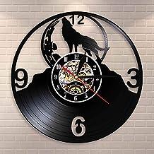 Fantasy Lobo Aullando Silueta en la Luna Reloj de Pared Luna Llena Lobo Tribal Animal Arte de la Pared Disco de Vinilo Reloj de Pared Lobos Admiradores GIF