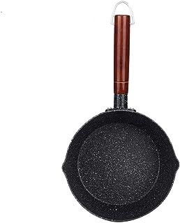 Hogar Sartén antiadherente Aluminio Estilo japonés Piedra Cocina Utensilio de cocina Olla con mango de madera para senderismo y picnic(18CM)