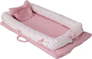 Abreeze Baby Bassinet for Bed -Flamingos Baby Lounger - Breathable & Hypoallergenic Co-Sleeping Baby Bed - 100% Cotton Portable Crib for Bedroom/Travel 0-24 Months