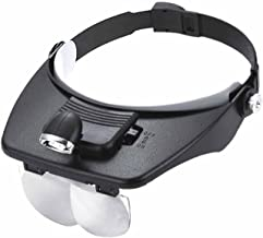 Nikayoni Stores  ヘッドルーペ 拡大鏡 レンズ メガネ タイプ 2灯式 LED ライト 倍率 1.2倍 1.8倍 2.5倍 3.5倍黒 白