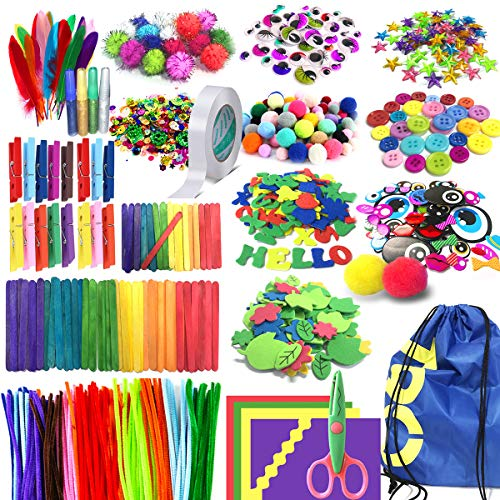 Arts and Crafts Supplies for Kids Girls - Toddler DIY Craft Art Supply Set with Storage Bag for Ages 4 5 6 7 8 9, Craft Pipe Cleaners, Letter Beads, Pompoms, Wiggle Googly Eyes.Over 1,000 PCS.(EBOOK)