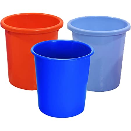 Kuber Industries Portable Waste Bin/Dust bin/Rubbish bin/Trash Can/Garbage Bin-Homeware Set of 3 Pcs (Assorted Color) Code14, Multi, Standard (DUSTIN05)