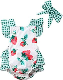 Newborn Baby Girl Floral Bodysuit+Headnband 2pcs Summer Flare Sleeve Fashion Jumpsuit 0-24Months