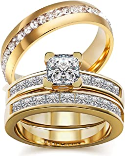 wedding ring set Two Rings His Hers Couples Rings Women's 10k Yellow Gold Filled White CZ Wedding Engagement Ring Bridal S...