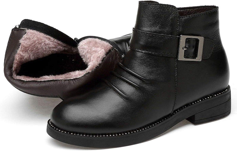 Spining Casual läder skor Faale Ankle Boot Winter stövlar Plush Furs varma snöskor