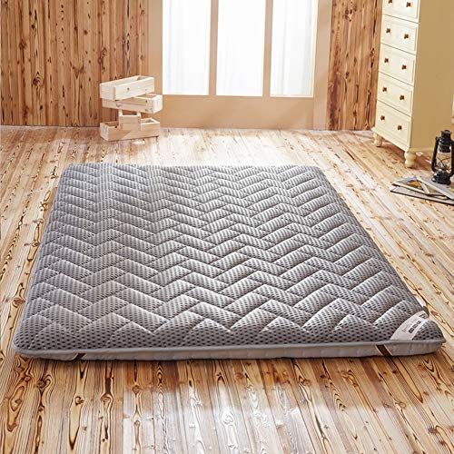 LQ&XL Japanische Futon Matratze,Tatami Mat Faltbare Roll-Up Matratze - Nicht-Slip Anti-bakterielle Sitzkissen Doppel Camping Matratzen,Grau,Grau,120X190CM
