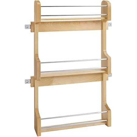 Rev-A-Shelf 4SR-18 18-Inch Kitchen Cabinet Door Mounted Wooden 3-Shelf Storage Spice Rack with Mounting Hardware, Natural Maple