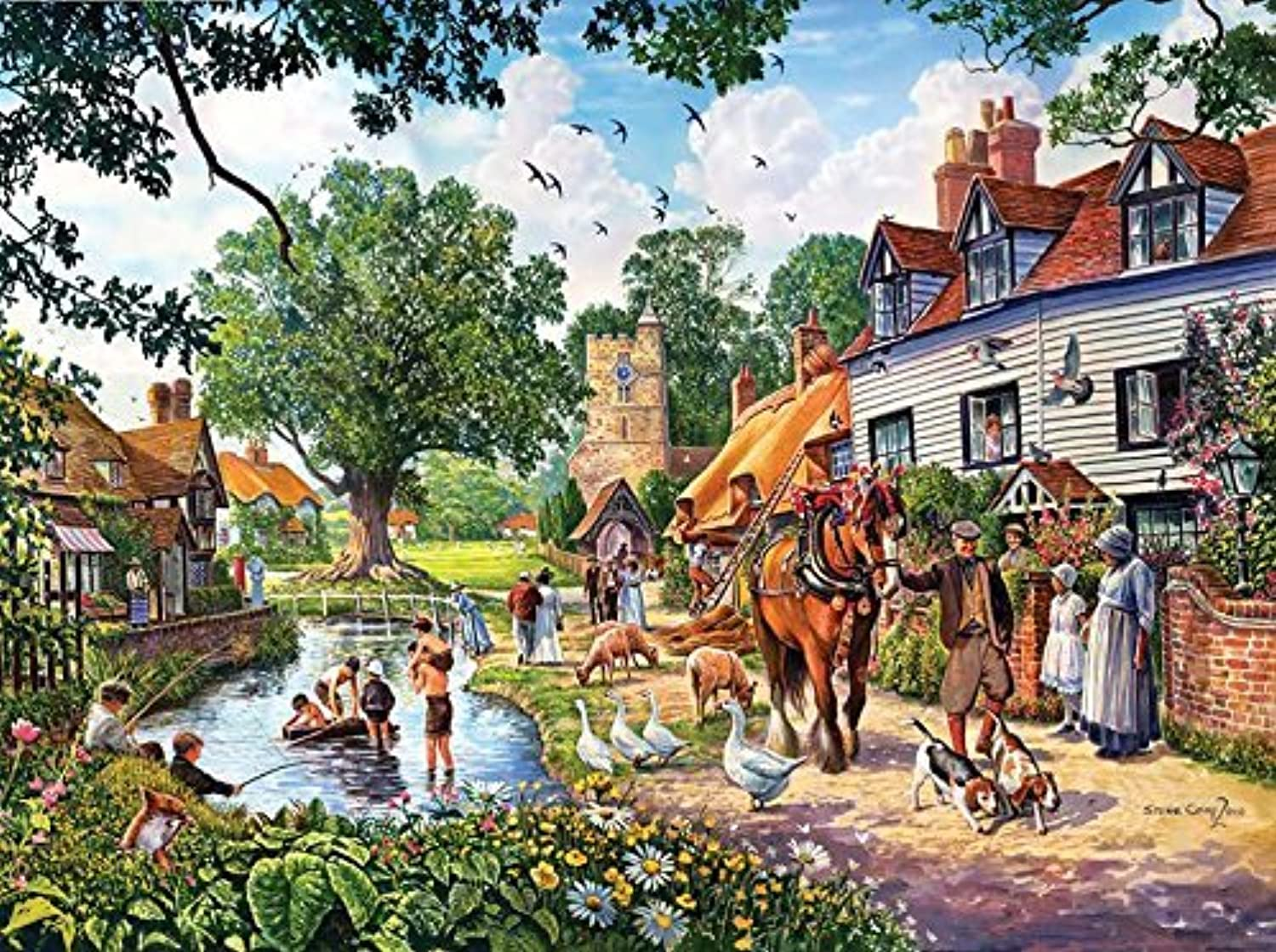 SunsOut A Village Summer Jigsaw Puzzle (1000-Piece) by SunsOut