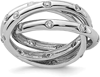 925 Sterling Silver Cubic Zirconia Cz Rolling Band Ring Fine Jewelry For Women Gift Set