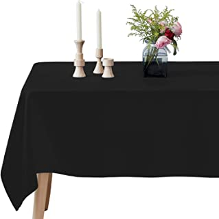 VEEYOO Rectangle Tablecloth - 60 x 102 Inch Polyester Table Cloth for 6 Foot Table - Soft Washable Oblong Black Table Cloths for Wedding, Parties, Restaurant, Dinner, Buffet Table and More