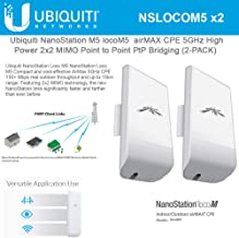 NanoStation M5 locoM5 Indoor/Outdoor Airmax CPE 5GHz High-Power 2x2 MIMO Point to Point PtP Bridging (2-Pack)
