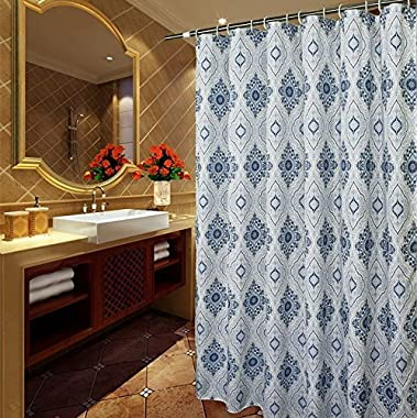 Shower Curtain Standard Size 72 x 72 inches, Welwo Fabric Shower Curtain Liner Set with Hooks for Bathroom - (Weighted Hem, Rust-Repellent Metal Grommets and Waterproof Designed), Blue White Paisley