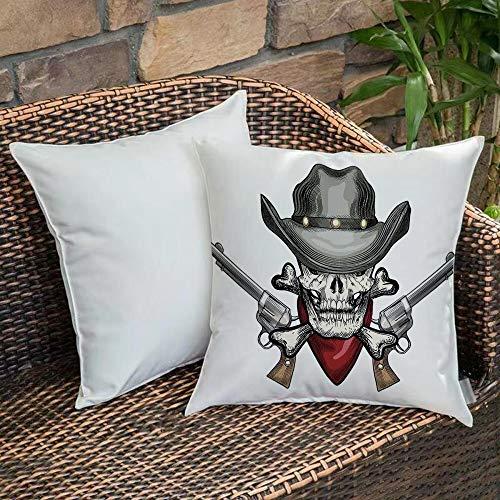 Dekokissen Kissenhülle,Schädel, Illustration eines coolen Schädel-Cowboys mit Hut und Gewehren Wild West Symbol im R,Kissenbezug Sofakissen Für Autos Wohnzimmer Schlafzimmer Dekor Kollektion 45x45cm