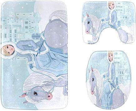 Winter of Beautiful Princess Riding Horse Unique Custom Bathroom Accessories Non-Slip Bath Mat Rug Bath Doormat Floor Rug