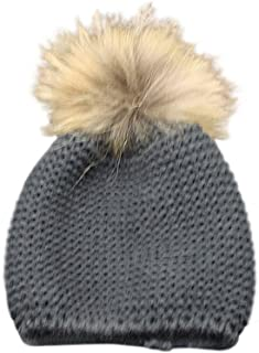 Childrens Unisex Outdoor Warm Stylish Winter Beanie Hat with Detacahable Pom Pom and Knit Design - Made with Real Fur