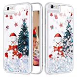 Caka iPhone 6 6S 7 8 Glitter Case Christmas Girly Girls Women Bling Sparkle Flowing Floating Luxury Fashion Silver Snowflake Glitter Soft TPU Phone Case for iPhone 6 6S 7 8 (4.7 inch) (Snowman)