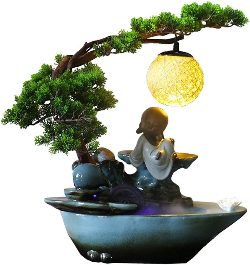 dxjsf Year-end New Shipping Free Shipping gift Desk Décoration Ceramic Tabletop Fountain Zen Plant Green