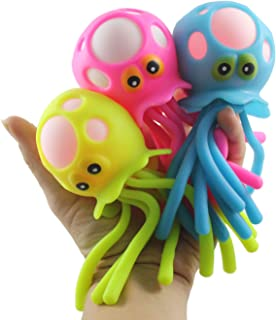 Curious Minds Busy Bags 1 Light-Up Octopus/Jellyfish Bath Toy - Stress Ball - Wiggly Jiggly Squishy Flashing Fidget Ball