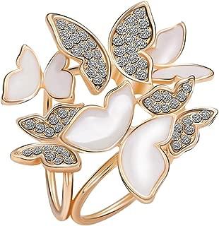 Fashion 3 Rings Elegant Butterfly Rhinestone Scarf Ring Silk Scarf Clip Brooch Pin for Women