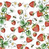 Ambiente - Confezione da 20 tovaglioli di carta a 3 veli, dimensioni 33 x 33 cm, motivo: fragole, colore: Bianco