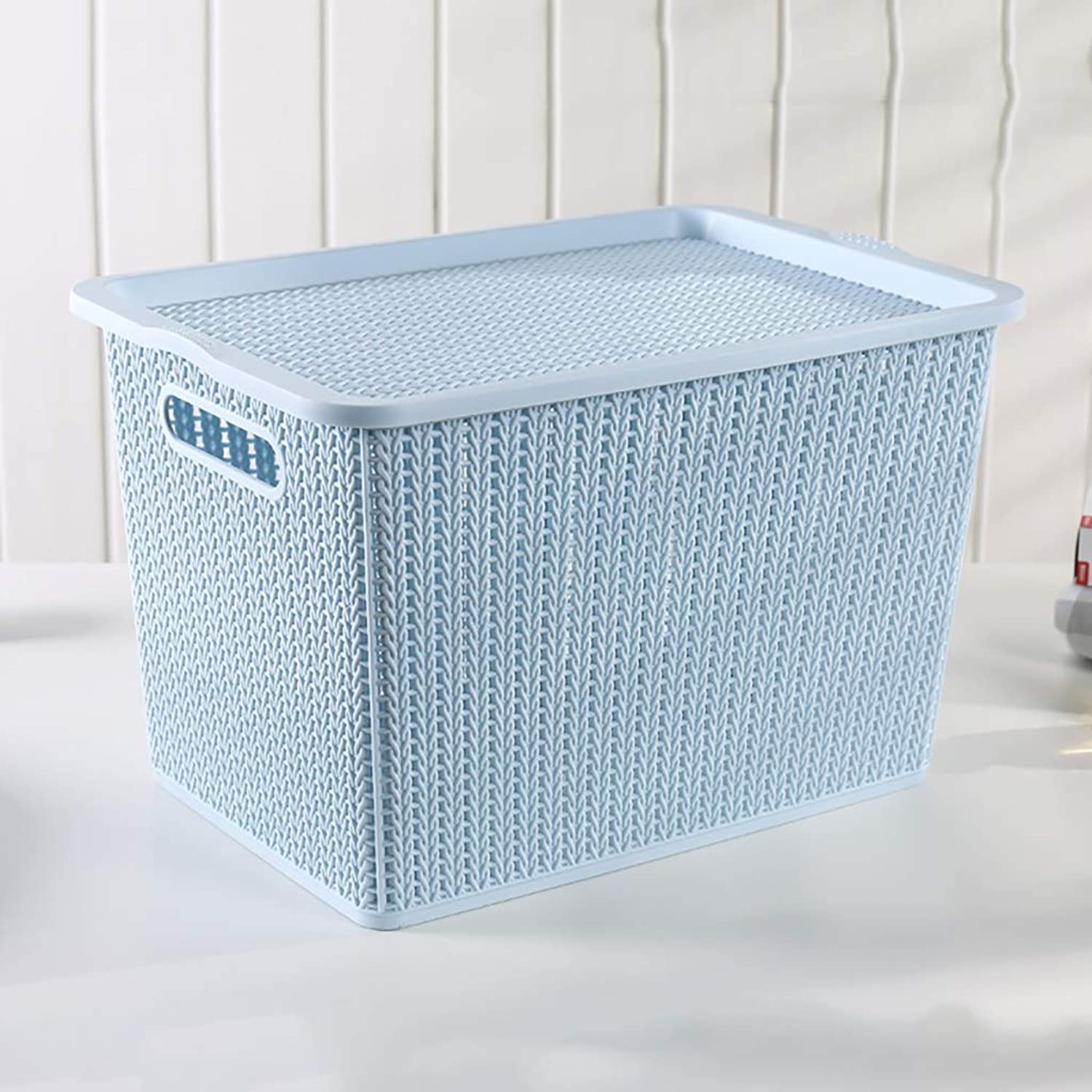 FANGFA Storage Baskets Plastic Living Room Desktop Fruit Snack Finishing Box with Lid (6 colors,3 (color   bluee, Size   41  27.5  25.6cm)
