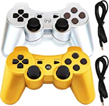 Molgegk Wireless Bluetooth Controller Compatible for PS3 Playstation 3 Double Shock - Bundled with USB Charge Cord (Gold and Silver)