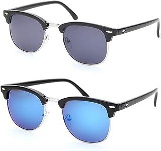 9e20f444c6056 Oeyeo Retro Classic Flash Color Mirrored Lens Sunglasses Semi Rimless Frame  for Men Women