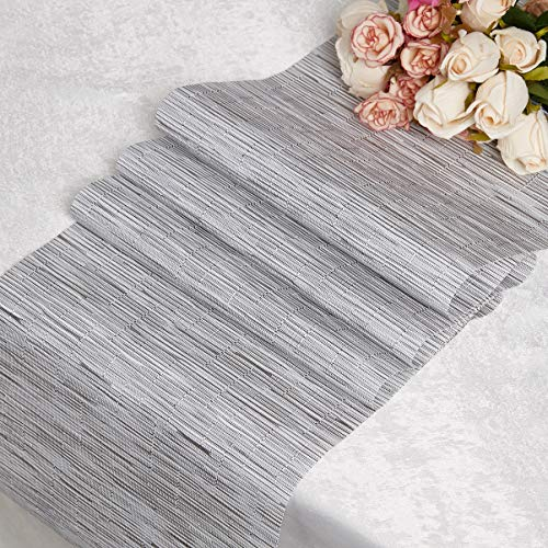 DOLOPL PVC Gray and White Table Runners 12'×72' Easy to Clean Non-Slip Heat Resistant Modern Table Runner for Outdoor Indoor Family Dinner Dining Office Kitchen Table Thanksgiving Christmas Party
