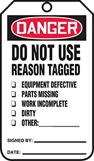 """Accuform Signs MDT184CTP Safety Tag, Legend""""Danger DO NOT USE Reason Tagged"""", 5.75"""" Length x 3.25"""" Width x 0.010"""" Thickness, PF-Cardstock, Red/Black on White (Pack of 25)"""