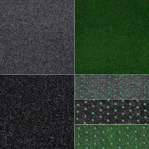 Kunstrasenteppich Fertigrasen mit Noppen Grün Grau Anthrazit (50 x 200 cm, Grau - 901)