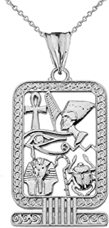 Exquisite Sterling Silver Ancient Egyptian Cartouche Pendant Necklace