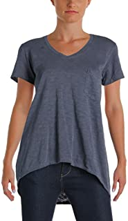 Parc and Pearl Womens Hi-Low Heathered Casual Top Navy XS