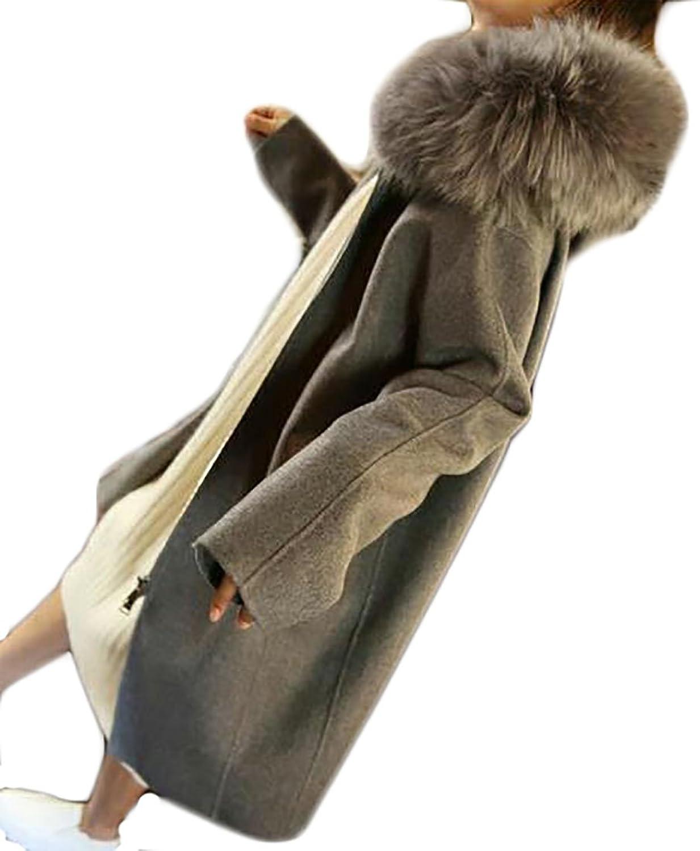 FLCH+YIGE Womens Autumn Winter Loose FauxFur Collar Hoodie Wool Blend Peacoats