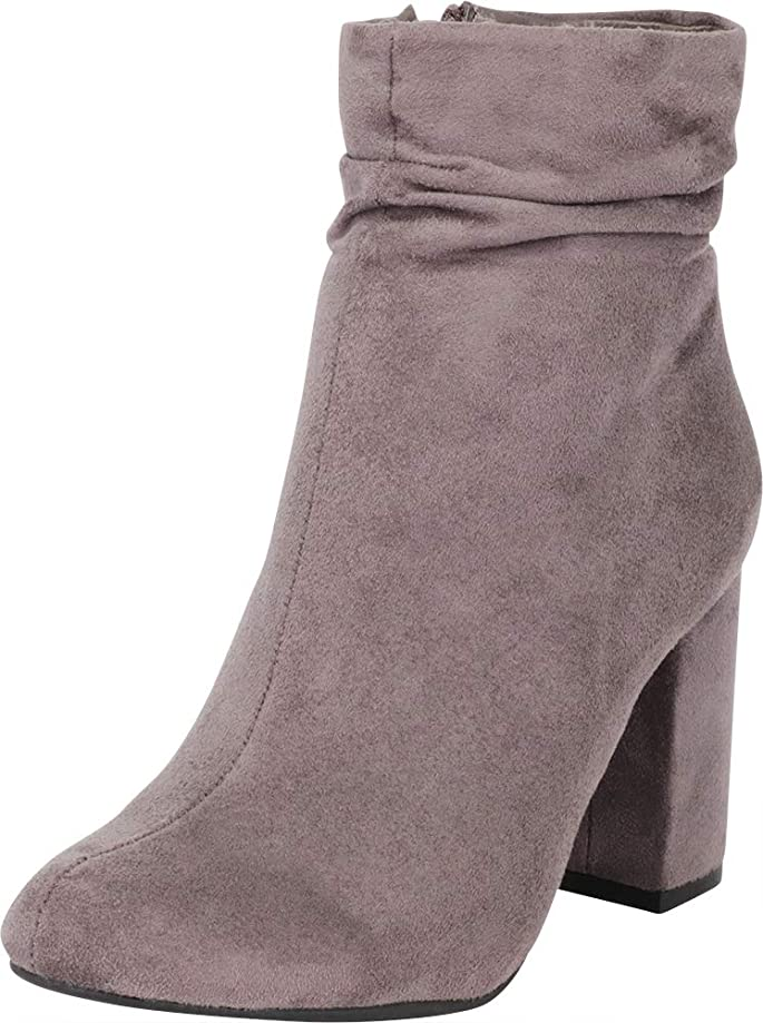 Cambridge Select Women's Ruched Slouchy Chunky Block Heel Ankle Bootie