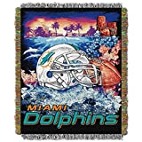 Officially Licensed NFL Miami Dolphins 'Home Field Advantage' Woven Tapestry Throw Blanket, 48' x 60', Multi Color
