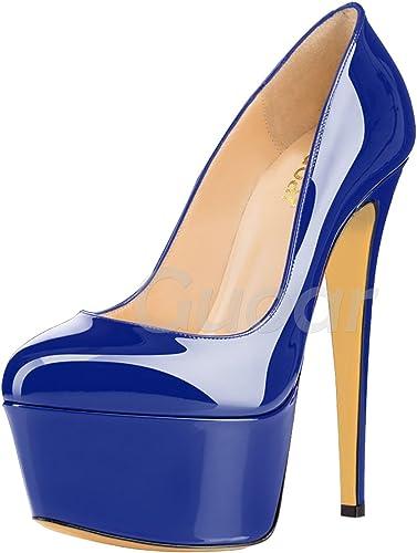 DYF Haut Talon Fine Chaussures étanches à tête Ronde Peu Profonde Bouche Table,16cm,Bleu,36
