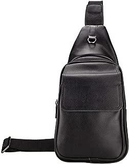 DelleVEGA Genuine Leather Chest Bag Backpack Crossbody Bags Sling Bag Shoulder Backpack for Men (Black)