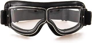 motorradbrille evomosa Motorradbrille PU Leder Sonnenbrillen Sportbrille Retro Radbrille für ATV Bike Motocross Brille Schutzbrille Schwarze B