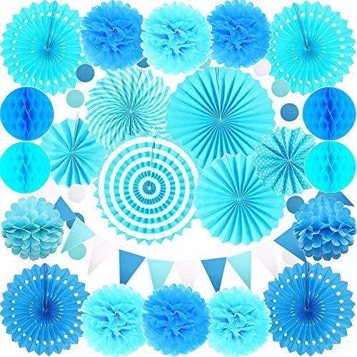 Mannli 24 piezas de papel colgantes azules para decoración de abanicos de papel, pompones de flores y bolas de nido de abeja para niño, fiesta de cumpleaños, bodas, festivales de carnavales