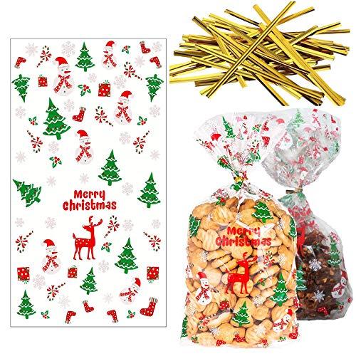 100 bolsas para chuches de Navidad con copos de nieve, bolsas transparentes...