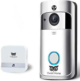 Owlet Home, WiFi Video Doorbell, 720P Doorbell Camera, Two-Way Audio/Video Night Vision Motion Detection App Control for iOS and Android, No Monthly Fee with Indoor Chime, 2 Batteries, 16GB TF Card