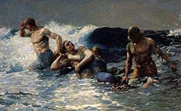 AED50-2000 Hand Painted Art Paintings by College Teachers - Undertow Winslow Homer 1886 Realism marine painter Winslow Homer Oil Painting for Wall Art Decor -Size 06
