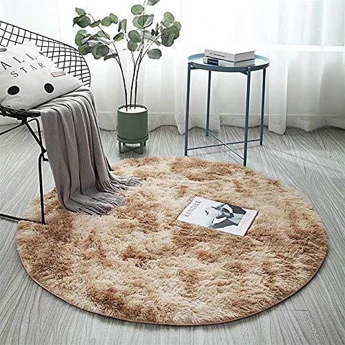 AKEFG Plüsch-Art Rund-Vorleger eleganten Chic Cozy Shaggy Rund Teppich Boden Teppichboden Vorleger Hausdekoration Luxus Fluffy Super Soft Kinderspielmatte,Khaki,100 cm