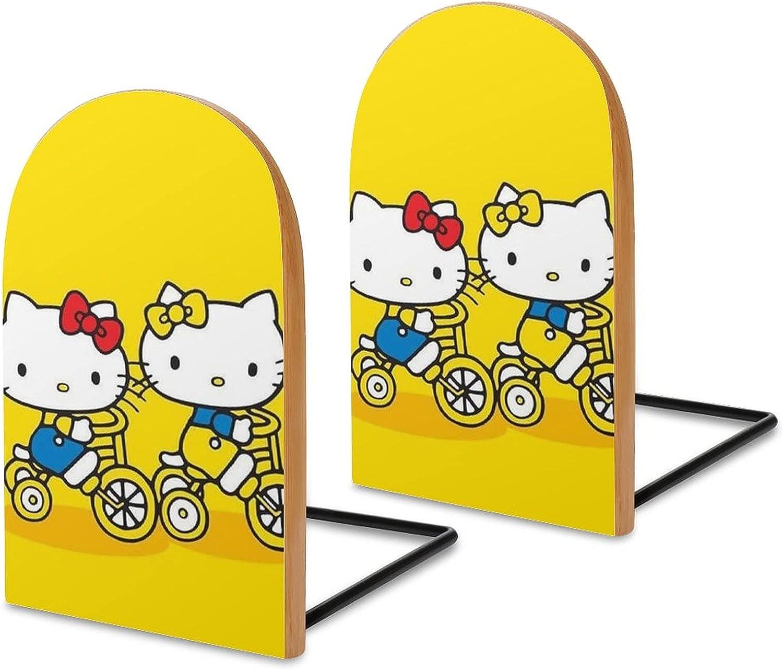 KRISMARIO Hello Kitty Bike 2pcs Heavy Wood Logs Bookends Modern
