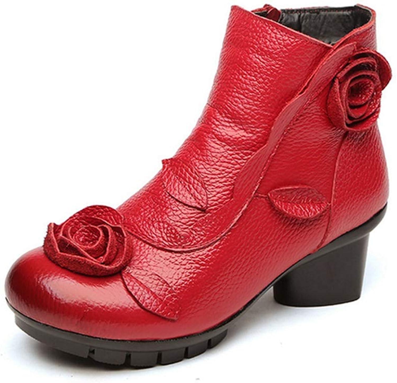 GIY Women's Winter Retro Flower Ankle Boots Exotic Leather Zipper Block Low Heel Bootie Dress Short Boots