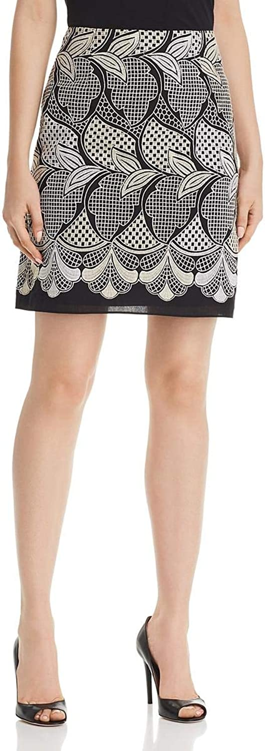 Le Gali Womens Daniellah Embroidered Above Knee ALine Skirt