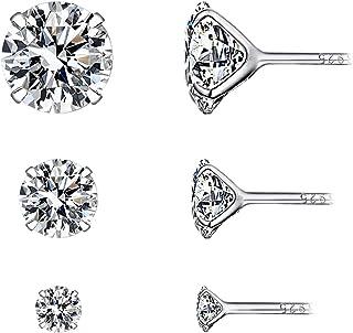 comprar comparacion YOURDORA 3 Pares Plata de Ley 925 Pendientes Tous Mujer con Cristal de Swarovski Sencillo Joyería Elegante 3mm 5mm 7mm